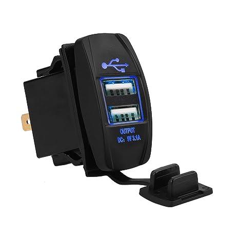 Toma de Corriente del Cargador USB Dual 12-24V 3.1A para Coche Motocicleta Camión