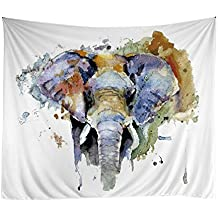 "Xinhuaya New Wall Tapestry Elephant Pattern Wall Hanging Indian Wall Art (51 W by 60"" L, Multi 7)"