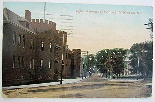 Avenue Street Scene - VINTAGE 1910 POSTCARD - HIGHLAND AVENUE street scene & ARMORY MIDDLETOWN NY