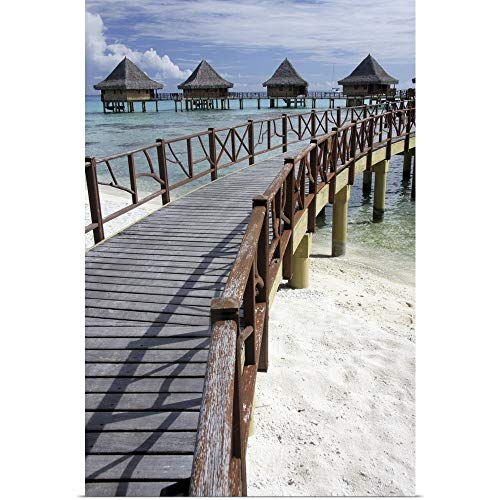 - GREATBIGCANVAS Poster Print Entitled Walkway to Holiday Huts Over Lagoon, French Polynesia by Michelle Dry 12