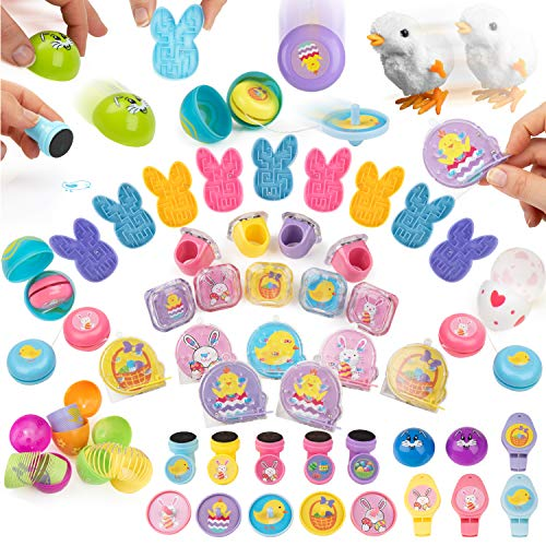 PartySticks Easter Basket Supplies - 100 Pc Easter Basket Stuffers for Kids w/ Fillable Plastic Easter Eggs, Easter Egg Hunt Toys and Easter Egg Fillers for Kids -