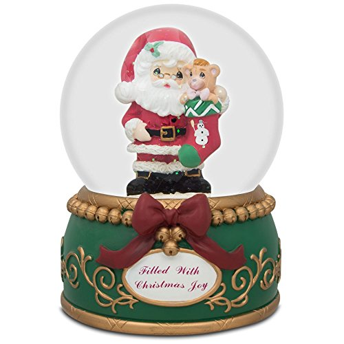"5.5"" Santa Holding Stocking with Teddy Bear Music Box Snow Globe"