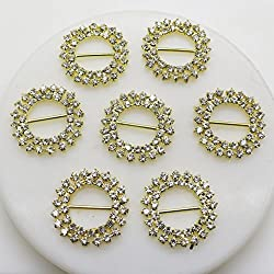 AngHui ShiPin 30pcs 20mm Beautifull Sunflower shaped Rhinestone Ribbon Buckle Slider for Wedding Invitation Letter Hair Accessories Decoration Christmas Buckles