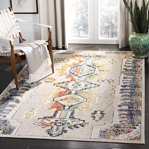 Safavieh CRS517F-8 Crystal Collection CRS517F Light Grey and Orange Area (8' x 10') Rug,