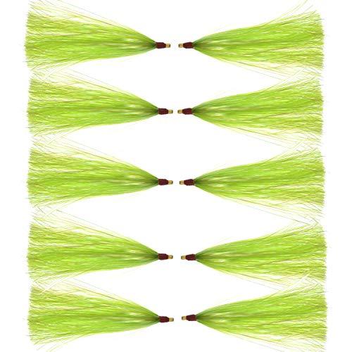 Fishing Mylar Flash Teaser Tail - 6pcs/12pcs Saltwater Bucktail Teaser, Bucktail Sliding Teaser Teasers, Plugs, Fluke Rigs (Green,12pcs)