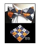 Men Yellow Navy White Check Modern Bow Tie Set Dances Engagement Wedding Necktie