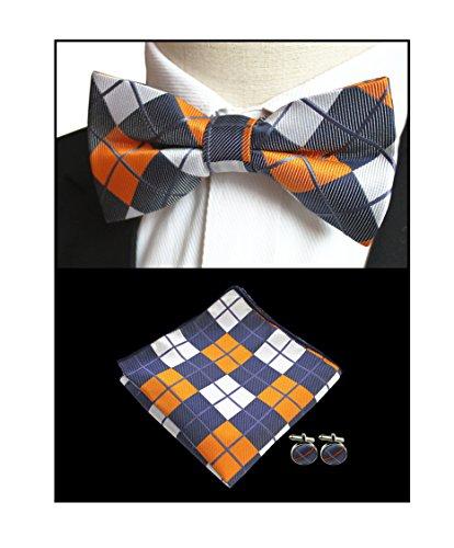 Men Yellow Navy White Check Modern Bow Tie Set Dances Engagement Wedding Necktie from Secdtie