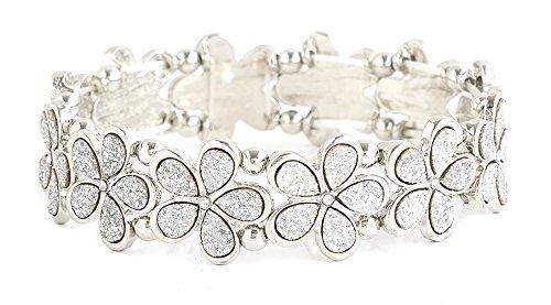 Silver Flower Bead Bracelet - NLCAC Crystal Bracelet Bridal Bangle Bracelet Druzzy Beads Elastic Bracelet for Wedding (flower silver)