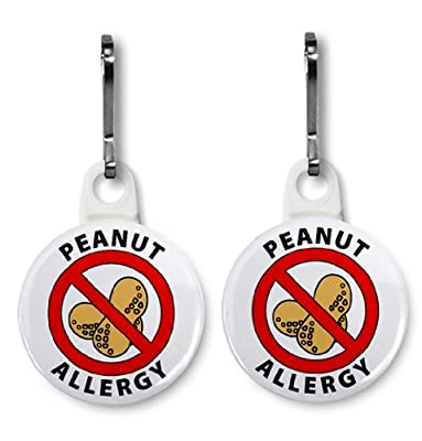 2 x PEANUT ALLERGY Medical Alert 2.5cm Zipper Pull Charms