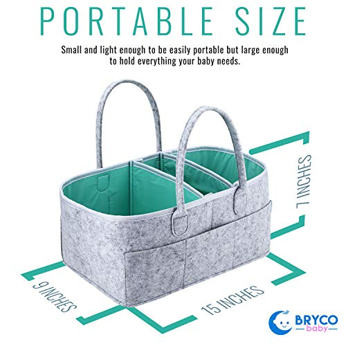 Baby Diaper Caddy Organizer - Portable Storage Basket - Essential Bag for Nursery, Changing Table and Car - Great for Storing Diapers, Bottles, Baby Wipes, Baby's Toys & Pacifiers - Mint