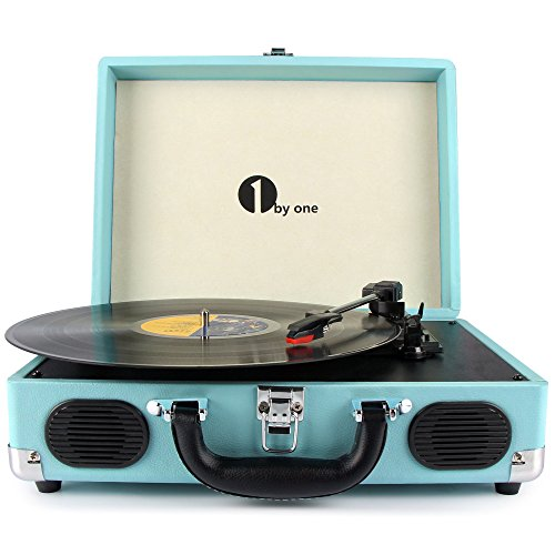 1byone Belt-Drive 3-Speed Portable Stereo Turntable with Built in Speakers, (2 Record Storage)