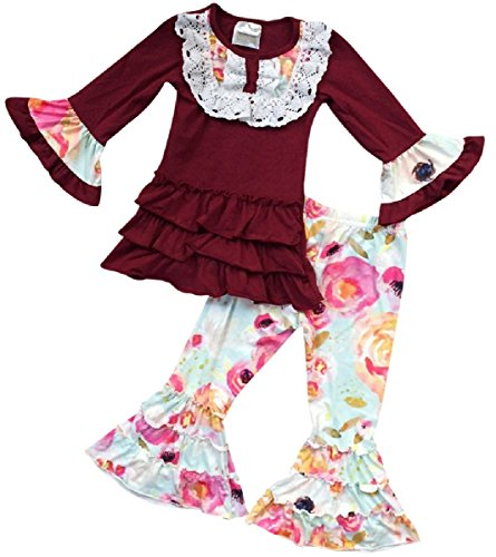 Big Girls 2 Pieces Set Long Sleeve Ruffle Shirt Floral Legging Pant Clothing Set Burgundy 7 XXL (Ruffle Jacket Set)