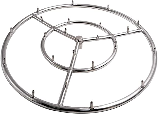 12-inch 304 Stainless Steel Square Fire Pit Burner Double Ring