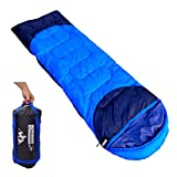 Outdoorsman Lab Sleeping Bag | Lightweight Backpacking & Camping Sleeping Bag for Adults & Kids | 3 Season, Durable Ripstop Nylon, Tear & Water-Resistant Shell | Includes Compression Sack (Sky Blue)