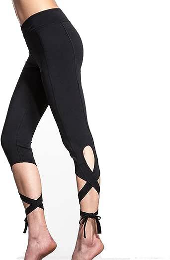 VPASS Mujer Pantalones,El/ásticos Moda Pantalones Entrenamiento de Baile Color s/ólido Encaje Secado rapido Largos Pantalones Mujer Fitness Mallas Yoga Slim Fit Pants Leggings Cintura Alta Deportivos
