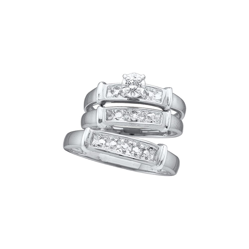 Sizes - L = 9, M = 13 - 925 Sterling Silver Trio His & Hers Round Diamond Solitaire Matching Bridal Wedding Ring Band Set 1/12 Cttw