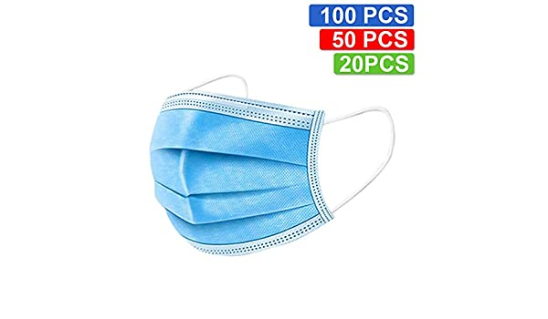100 pack surgical disposable face masks with elastic ear loop