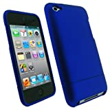iGadgitz Blue Rubber Coated Hard Case Cover for Apple iPod Touch 4th Generation 4G 8gb, 32gb, 64gb + Screen Protecto