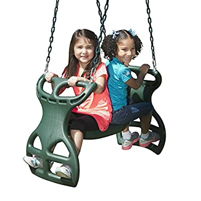 Swing-N-Slide WS 3452 Heavy Duty Two Person Dual Glider Swing, with Coated Chains to Prevent Pinching, 18