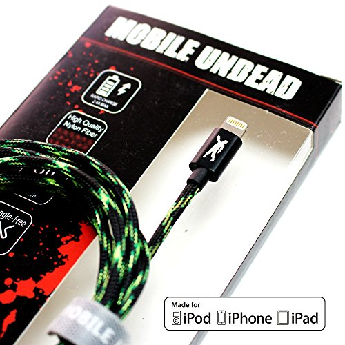 Mobile Undead [Apple MFi Certified] Lightning to USB Zombie Cable - Nylon Braided Aluminum Housings 5 Feet Black Green Neon for iPhone X 8 8 Plus 7 7 Plus 6 6s 5s 5c 5 SE iPad Pro Air Mini iPod