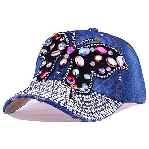 CRUOXIBB Women Crystal Baseball Cap Rhinestone Caps Butterfly Denim Hat(Blue (Jeans Hat)
