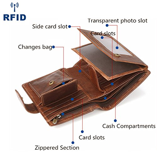 Wallet for Men RFID Blocking Bifold Genuine Leather Wallets With 3 ID Window(Brown) - Leather Three Section