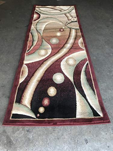 Area Rug Runner Contemporary - Contempo Modern Runner Contemporary 400,000 Point Abstract Area Rug Burgundy Green Beige Design 368 (32 Inch X 7 Feet 3 Inch)