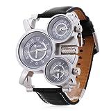 Oulm Luxury Men's Women's triple 3 Timezones Wrist Watch Sport Big Quartz Bla...