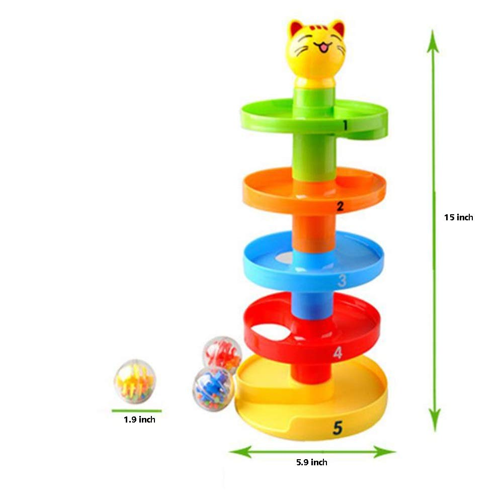 NeatoTek 5 Layer Ball Drop and Roll Swirling Tower Toy Baby and Toddler Development Educational Toys Development Puzzle Educational Toy Set includes 3 Spinning Acrylic Activity Balls with Colorful Bea