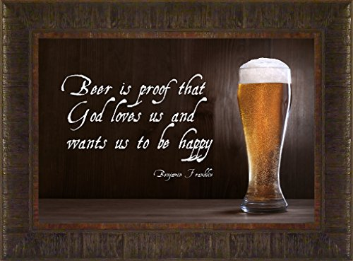 Beer Happy By Todd Thunstedt 17.5x23.5 Inspirational Uplifting Motivational Religious Bible Verse Poem Poetry Song Quote Saying Tree Farm Farmer Vinyl Lettering Ghandi Dali Lama Nelson Mandela Alcohol Budweiser Miller Brew Draft Barley Wheat Hops Sam Samuel Adams Ben Benjamin Franklin Abraham Lincoln George Washington Old Wine Vodka Rum Cocktail Bar Bartender Mancave Liquor Alcohol Music Rock Camping Party Octoberfest Concert Tasting Deer Camp Prohibition Still Framed Art Print Wall Décor Picture
