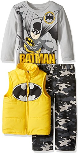 Batman Outfit For Kids (Warner Brothers Little Boys' Toddler Batman 3 Piece Vest Set with Camo Pants and T-Shirt, Yellow, 4T)
