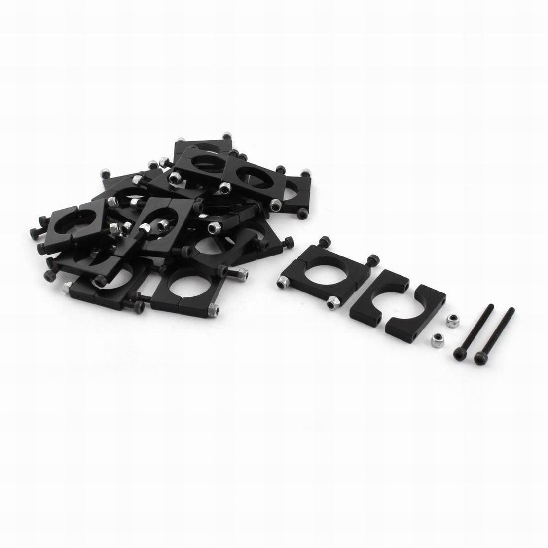 Uptell 20Pcs 20mm Aluminum Clamp Clip for Carbon Fiber Tube DIY RC Multirotor