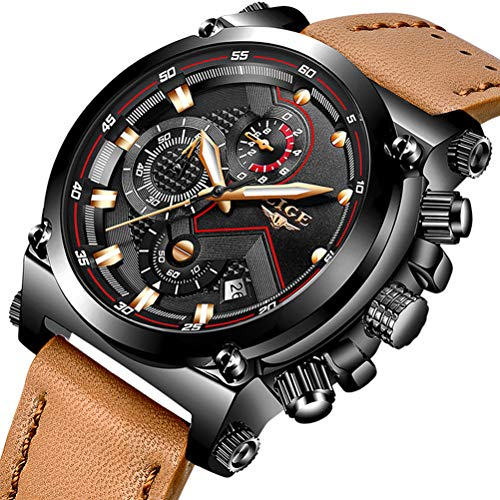 Big Watches Men Luxury Brand LIGE Fashion Brown Leather Wristwatch Sport Waterproof Casual Watches Men Black Face ()