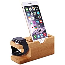 Apple Watch Stand, Aerb Bamboo Wood Charging Stand Bracket Docking Station Cradle Holder W Business Card Slot for iPhone and Apple Watch 38mm 42mm Series 1 Series 2