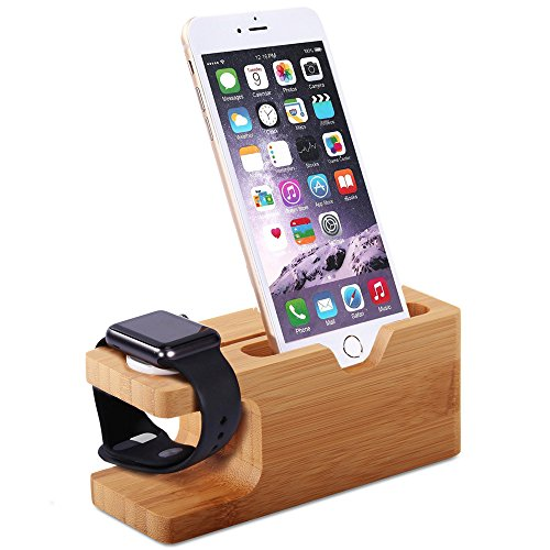 Tomplus for Apple Watch iPhone Bamboo Wooden Stand Charging Cradle Holder Nightstand Station 2 in 1 Dual...