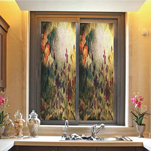 (Butterfly 3D No Glue Static Decorative Privacy Window Films, Vintage Inspired Burnt Murk Design with Poppy Flowers on Meadow Retro Old Style,17.7