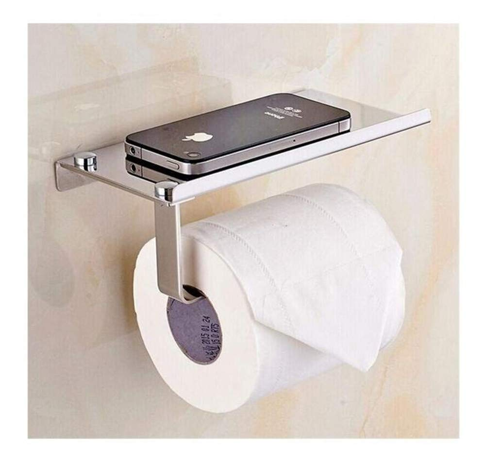 Paper Holder 1Pc Stainless Steel Roll Towel Tissue Paper Holder Mobile Phone Shelf Rack Toilet Tissue Boxes Kitchen Bathroom Accessories Paper Container