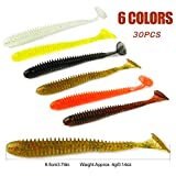 YONGZHI Fishing Lures for Bass Trout Walleye Paddle Tail Swimbaits and Lizard Lure Fishing Worms with Weighted Fishing Hooks for Freshwater and Saltwater Fishing