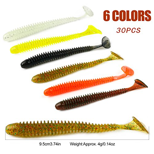 Bait Soft (YONGZHI Fishing Lures for Bass Trout Walleye Paddle Tail Swimbaits and Lizard Lure Fishing Worms with Weighted Fishing Hooks for Freshwater and Saltwater Fishing)