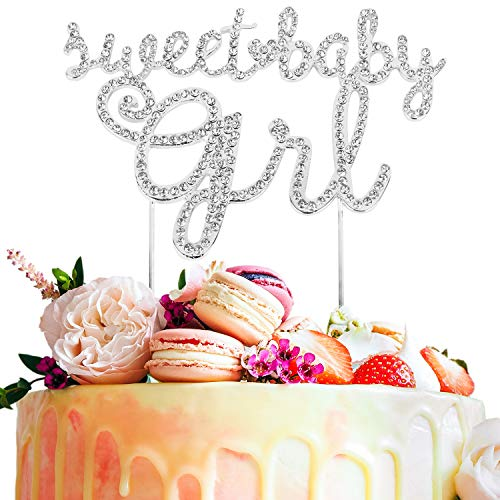 Sweet Baby Girl Rhinestone Gold Metal Bling Cake Topper Party Decoration Cheers to Baby Shower 1st month/year Kids Birthday - 5.9'' x 7.5''(Silver).