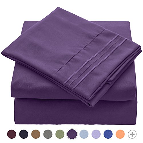 VEEYOO 1800 Thread Count Bedding Wrinkle Free Hypoallergenic Bed Sheet Set Hotel Luxury Quality Extra Soft Bedding Set Deep Pockets Pillow Case and Sheet Set - 3 Piece, Twin XL, Purple by VEEYOO