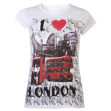 Ladies Tops T-Shirts Womens I Love London Souvenir Tops Super Quality Tee Shirt White 51ymChW5n8L