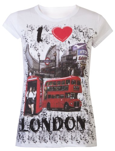 Damen Souvenir-T-Shirts I Love London Super Qualität,weiß