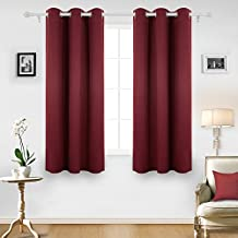 Deconovo Room Darkening Thermal Insulated Blackout Grommet Window Curtain For Nursery Room, Crimson Red, 42x63 Inch, 1 Panel