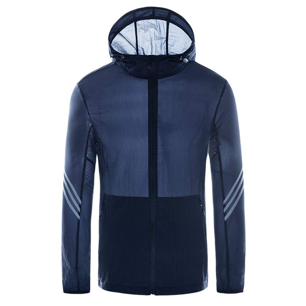 Spring and Summer New Outdoor Riding Hooded Skin Windbreaker Breathable and QuickDrying Sunscreen Fishing Clothes (color   Navy (Male), Size   5XL)