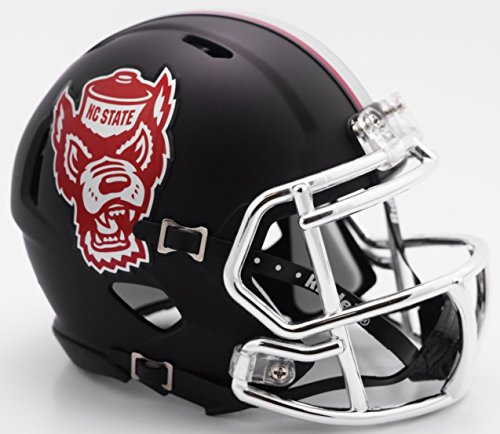 NC State Wolfpack Black Tuffy NCAA Riddell SPEED Mini Helmet