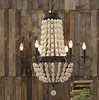"Iron Frame & Wood Wooden Beads Ball Pendant Chandelier Lamp 6 Lights 32"" Large Fixture Rustic"