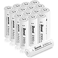 Bonai 16 Packs 2300mAh 1.2V AA Ni-MH High Capacity Rechargeable Batteries - UL Certificate