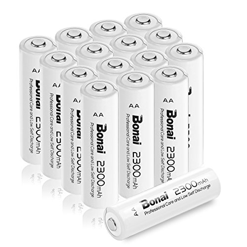 - BONAI AA Rechargeable Batteries 2300mAh 1.2V Ni-MH High Capacity 16 Pack - UL Certificate for Solar Lights, Garden Lights