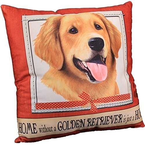 House Super Soft Polyester 16 x 16 Throw Pillow- Golden Retriever (Golden Lab Retriever)